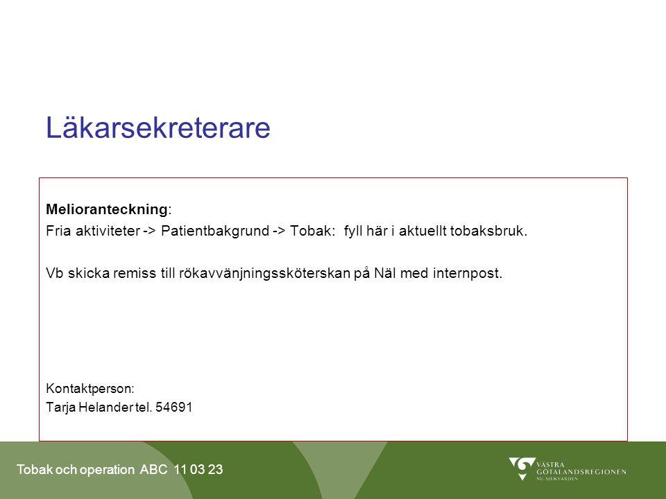 Läkarsekreterare Melioranteckning: