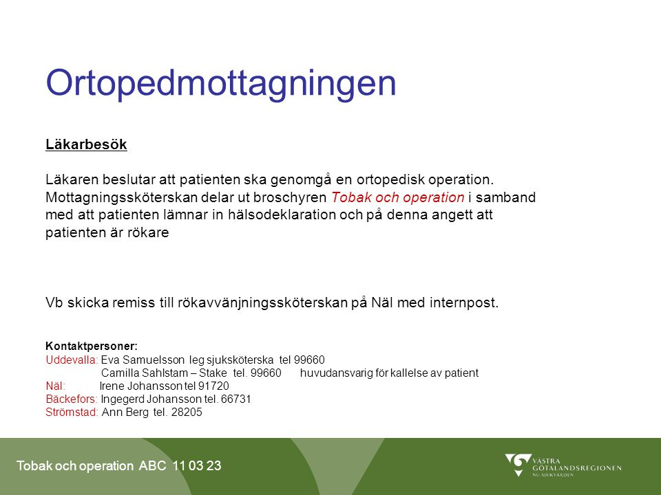 Ortopedmottagningen Läkarbesök