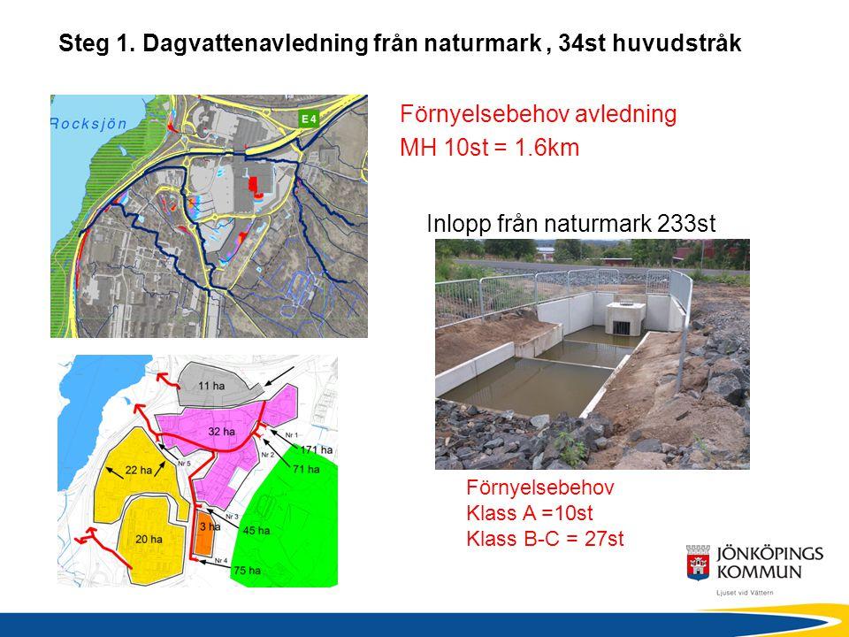 Steg 1. Dagvattenavledning från naturmark , 34st huvudstråk