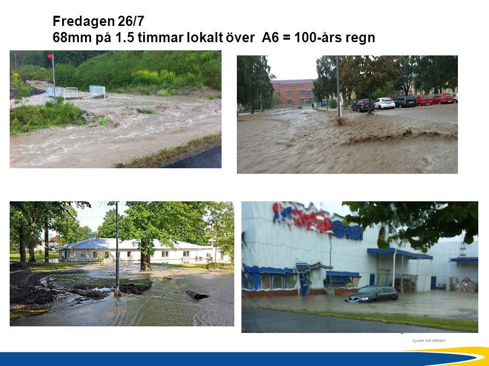 Fredagen 26/7 68mm på 1.5 timmar lokalt över A6 = 100-års regn