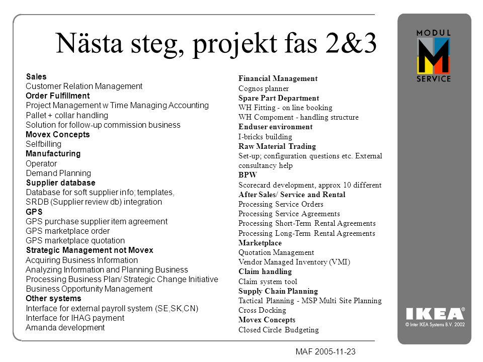 Nästa steg, projekt fas 2&3