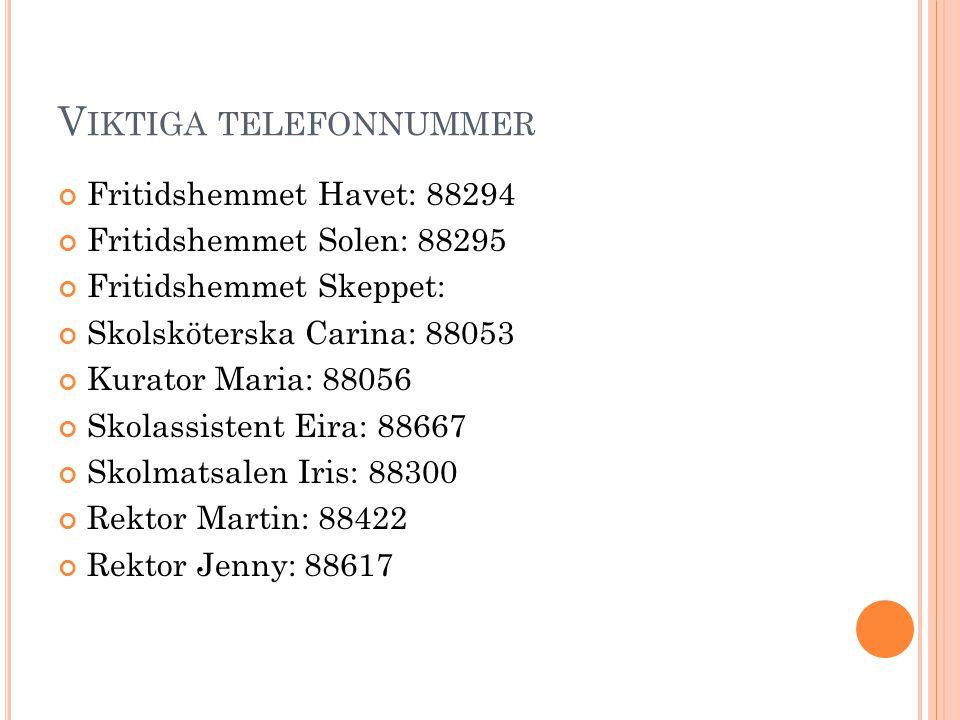 Viktiga telefonnummer