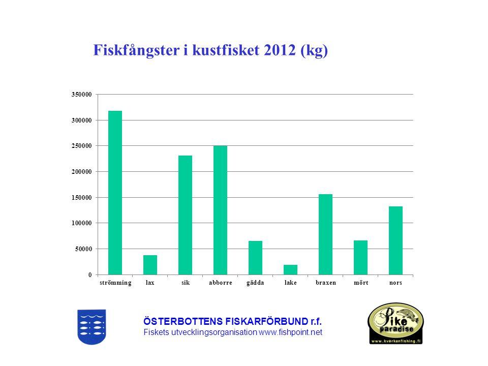 Fiskfångster i kustfisket 2012 (kg)
