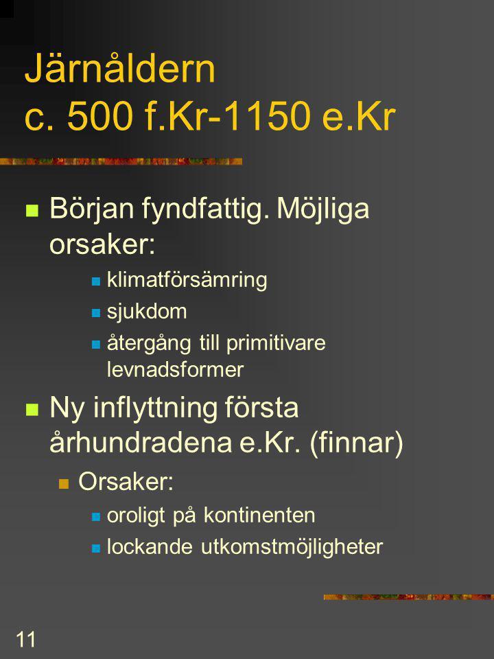 Järnåldern c. 500 f.Kr-1150 e.Kr Början fyndfattig. Möjliga orsaker: