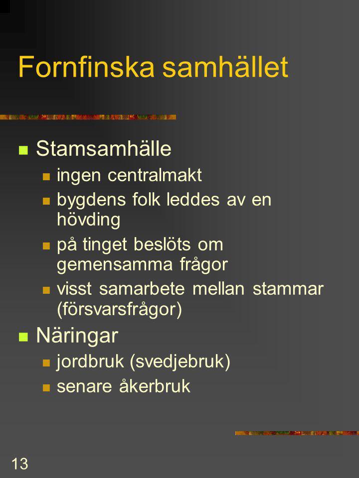 Fornfinska samhället Stamsamhälle Näringar ingen centralmakt