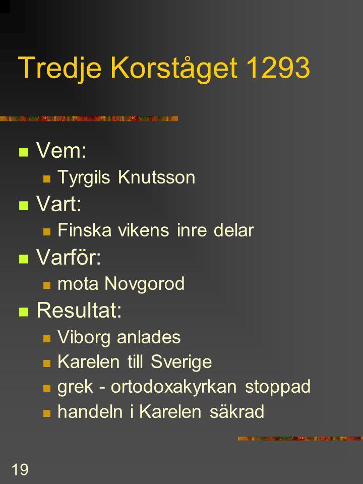 Tredje Korståget 1293 Vem: Vart: Varför: Resultat: Tyrgils Knutsson