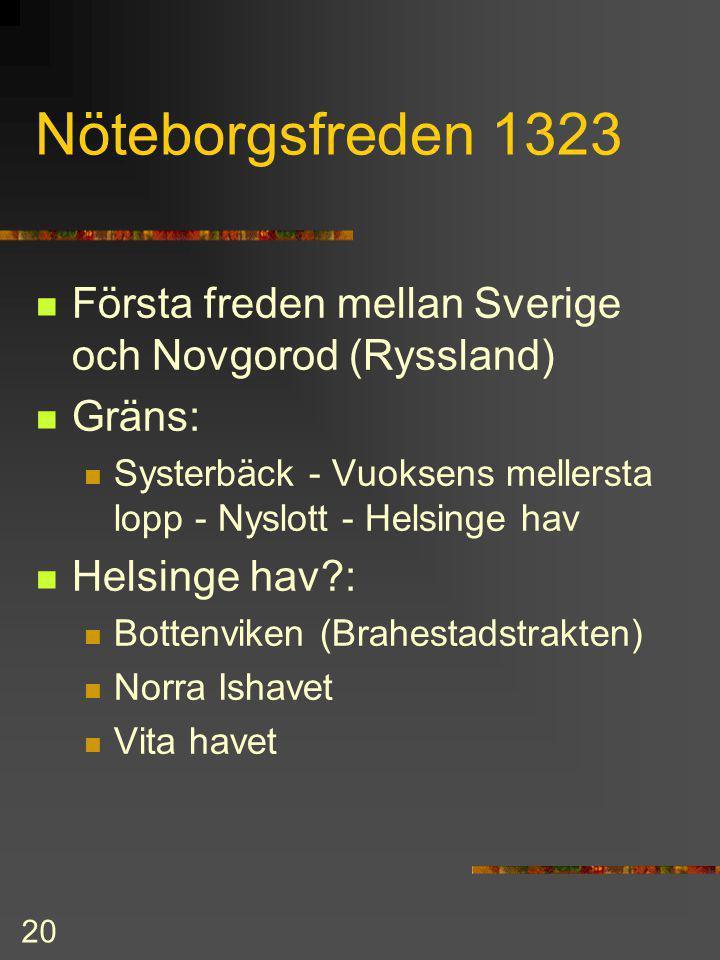 Nöteborgsfreden 1323 Första freden mellan Sverige och Novgorod (Ryssland) Gräns: Systerbäck - Vuoksens mellersta lopp - Nyslott - Helsinge hav.