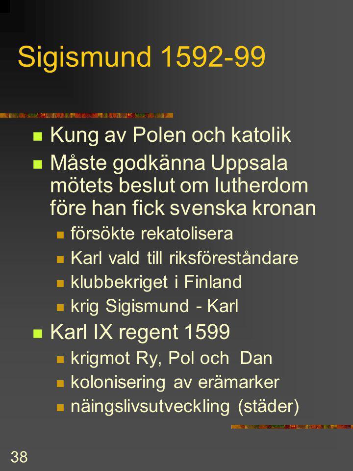 Sigismund 1592-99 Kung av Polen och katolik