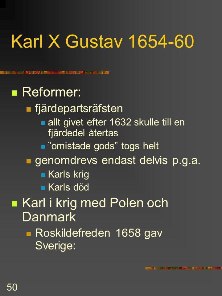 Karl X Gustav 1654-60 Reformer: Karl i krig med Polen och Danmark