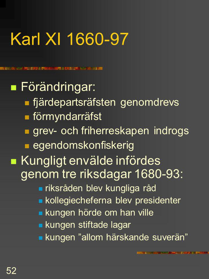 Karl XI 1660-97 Förändringar: