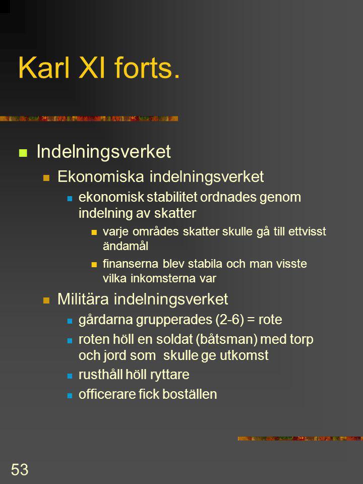 Karl XI forts. Indelningsverket Ekonomiska indelningsverket