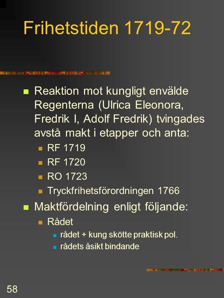 Frihetstiden 1719-72 Reaktion mot kungligt envälde Regenterna (Ulrica Eleonora, Fredrik I, Adolf Fredrik) tvingades avstå makt i etapper och anta: