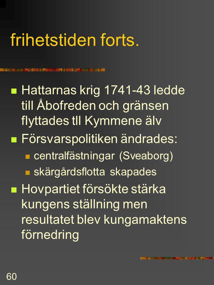 frihetstiden forts. Hattarnas krig 1741-43 ledde till Åbofreden och gränsen flyttades tll Kymmene älv.