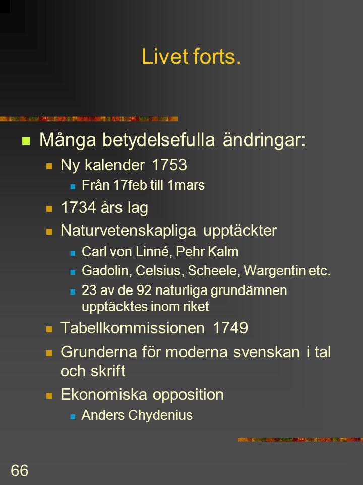 Livet forts. Många betydelsefulla ändringar: Ny kalender 1753