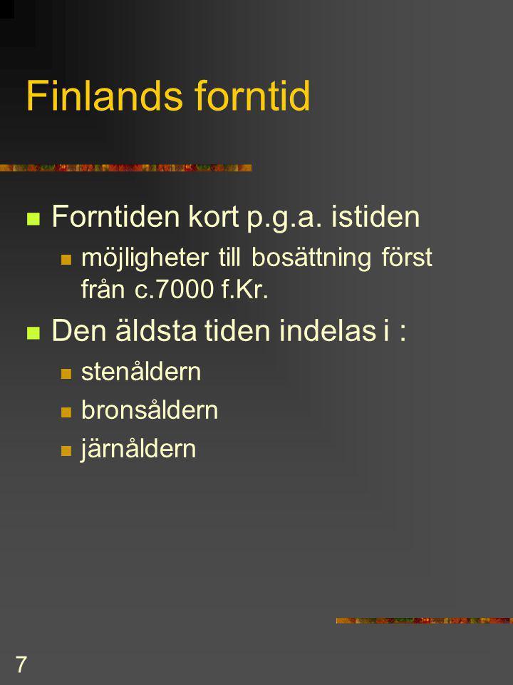 Finlands forntid Forntiden kort p.g.a. istiden