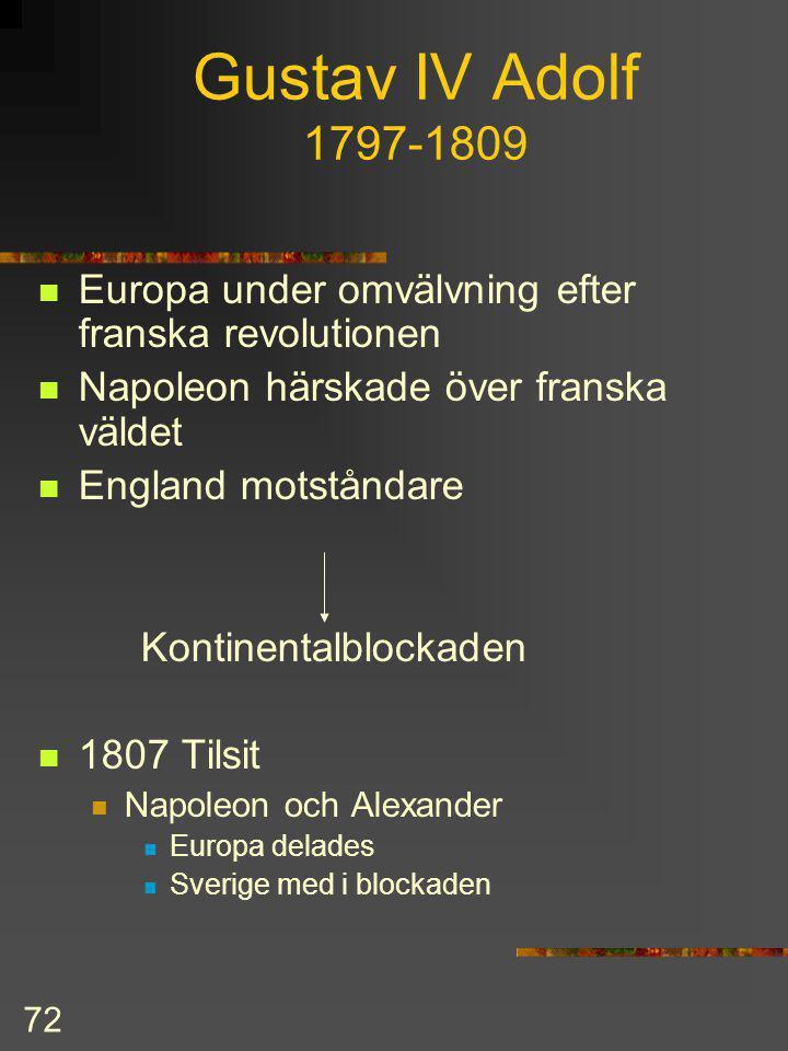 Gustav IV Adolf 1797-1809 Europa under omvälvning efter franska revolutionen. Napoleon härskade över franska väldet.