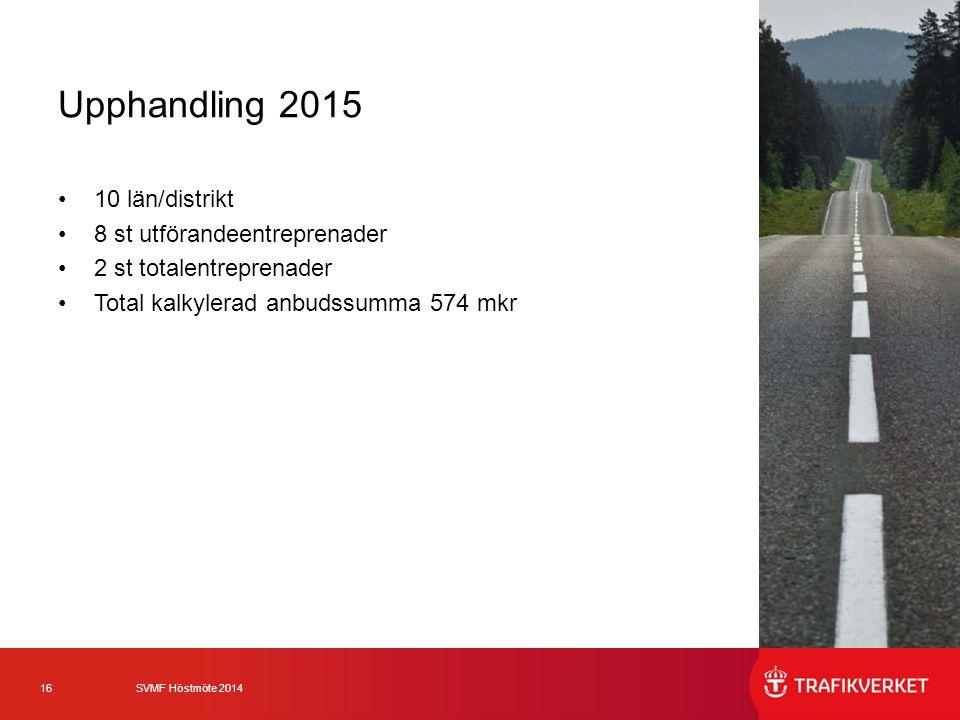 Upphandling 2015 10 län/distrikt 8 st utförandeentreprenader
