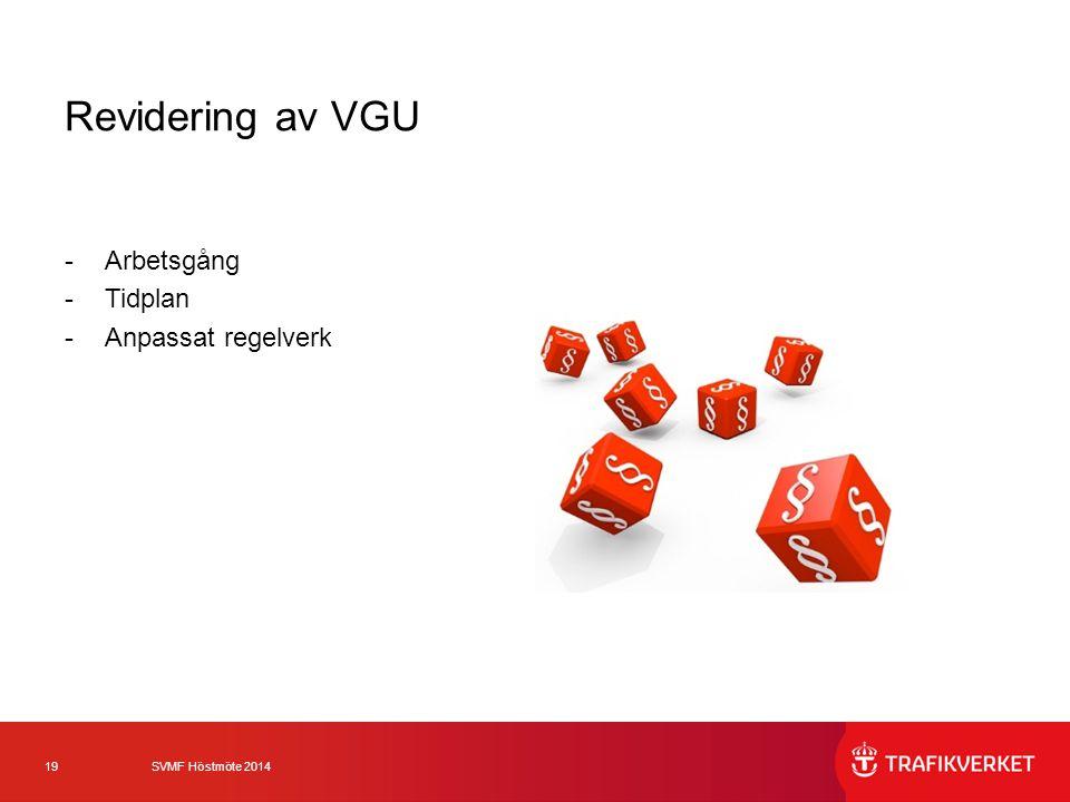 Revidering av VGU Arbetsgång Tidplan Anpassat regelverk