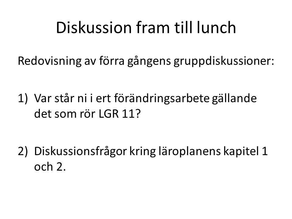 Diskussion fram till lunch