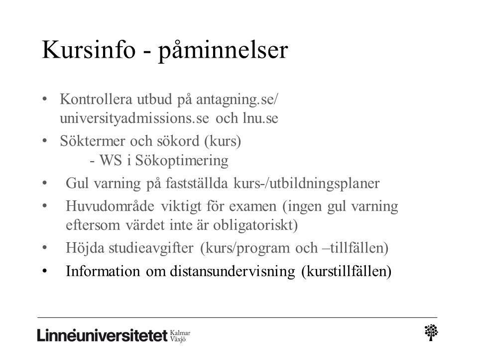 Kursinfo - påminnelser