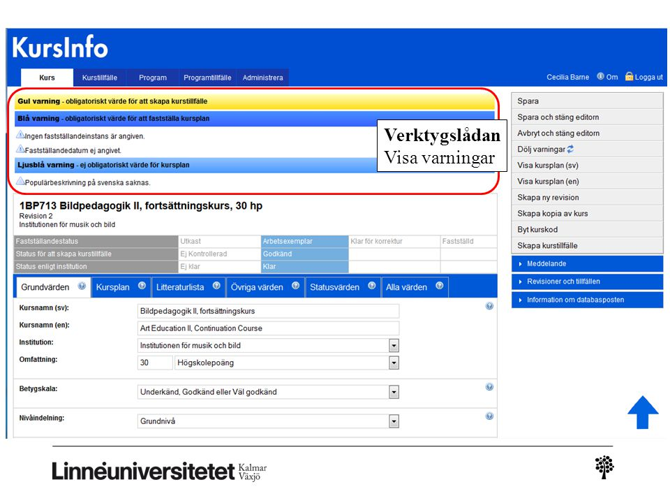 Kursinfo – ny leverans Verktygslådan Visa varningar