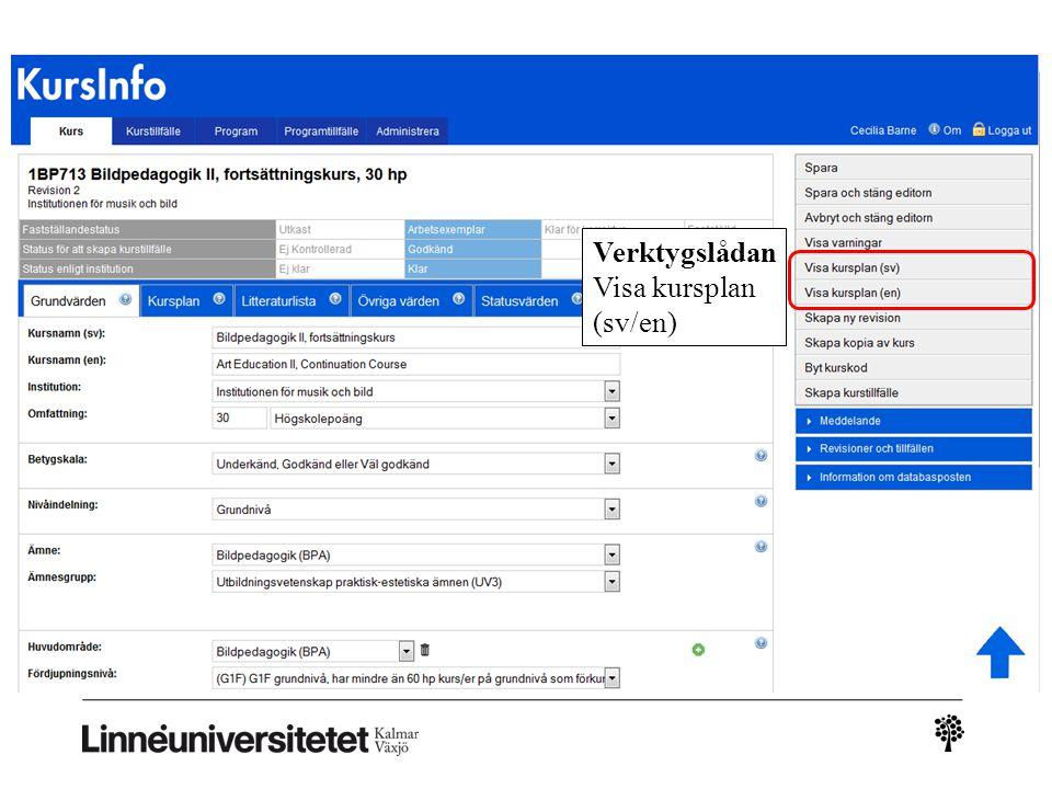 Kursinfo – ny leverans Verktygslådan Visa kursplan (sv/en)