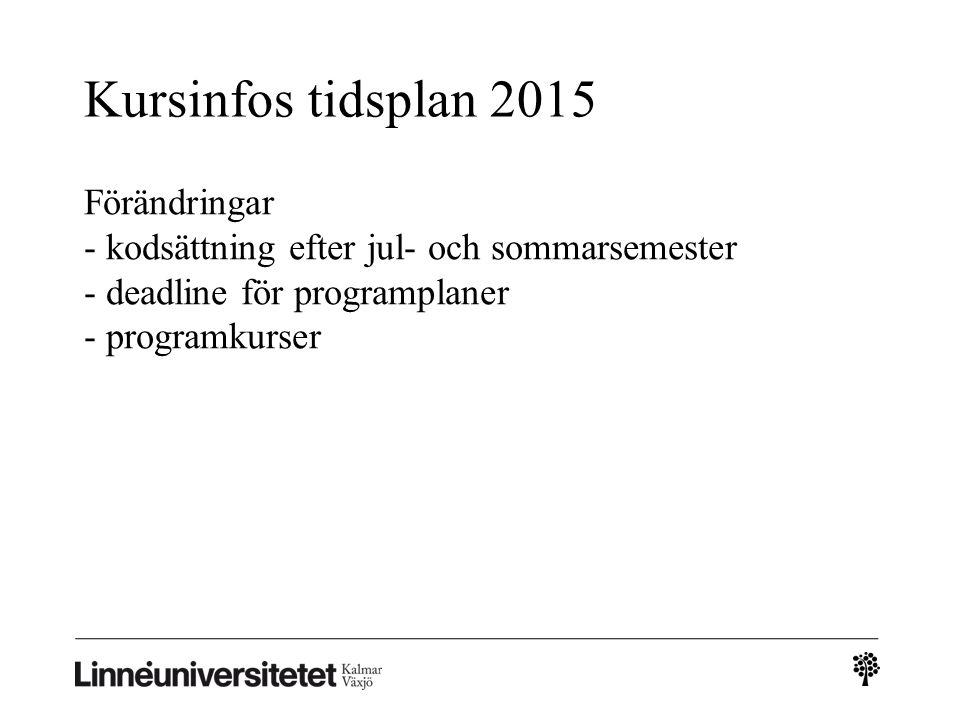 Kursinfos tidsplan 2015 Förändringar - kodsättning efter jul- och sommarsemester - deadline för programplaner - programkurser.