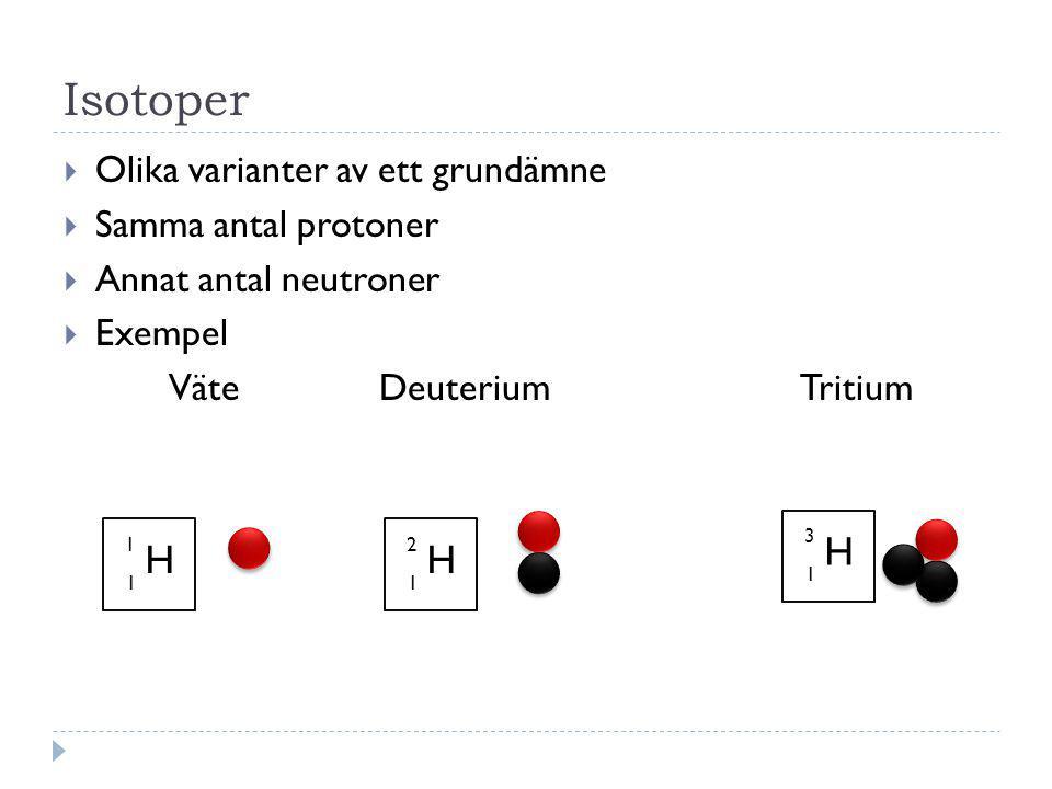 Isotoper H H H Olika varianter av ett grundämne Samma antal protoner
