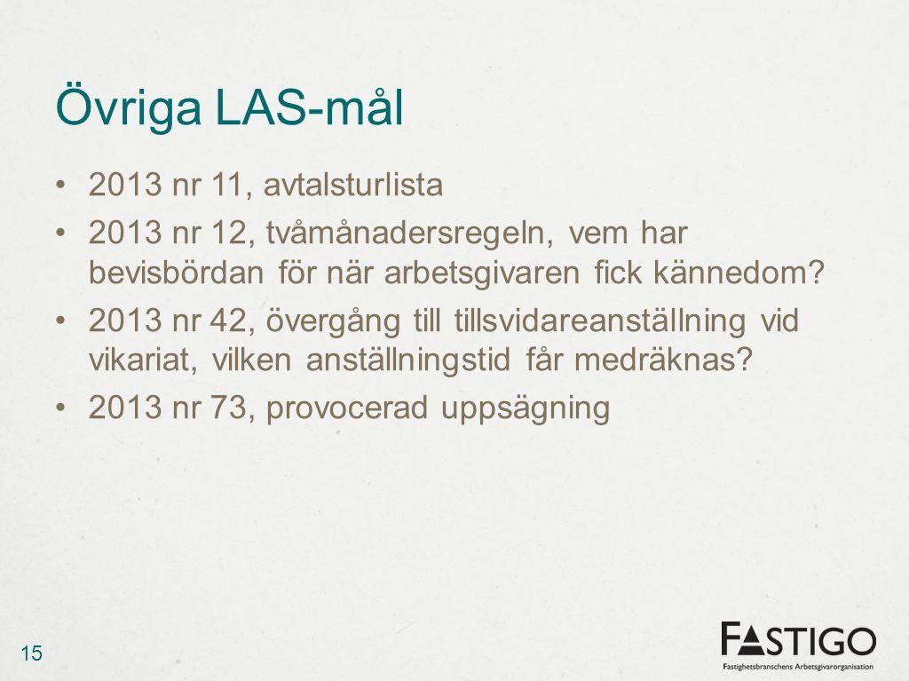 Övriga LAS-mål 2013 nr 11, avtalsturlista