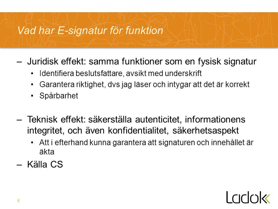 Vad har E-signatur för funktion