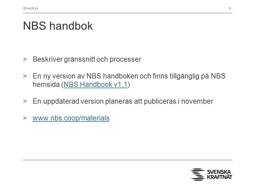 NBS handbok Beskriver gränssnitt och processer