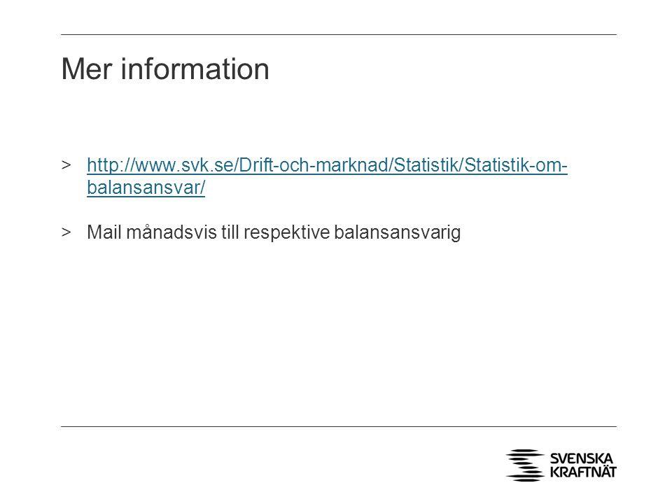 Mer information http://www.svk.se/Drift-och-marknad/Statistik/Statistik-om- balansansvar/ Mail månadsvis till respektive balansansvarig.