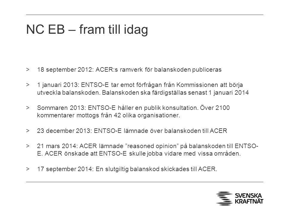 NC EB – fram till idag 18 september 2012: ACER:s ramverk för balanskoden publiceras.