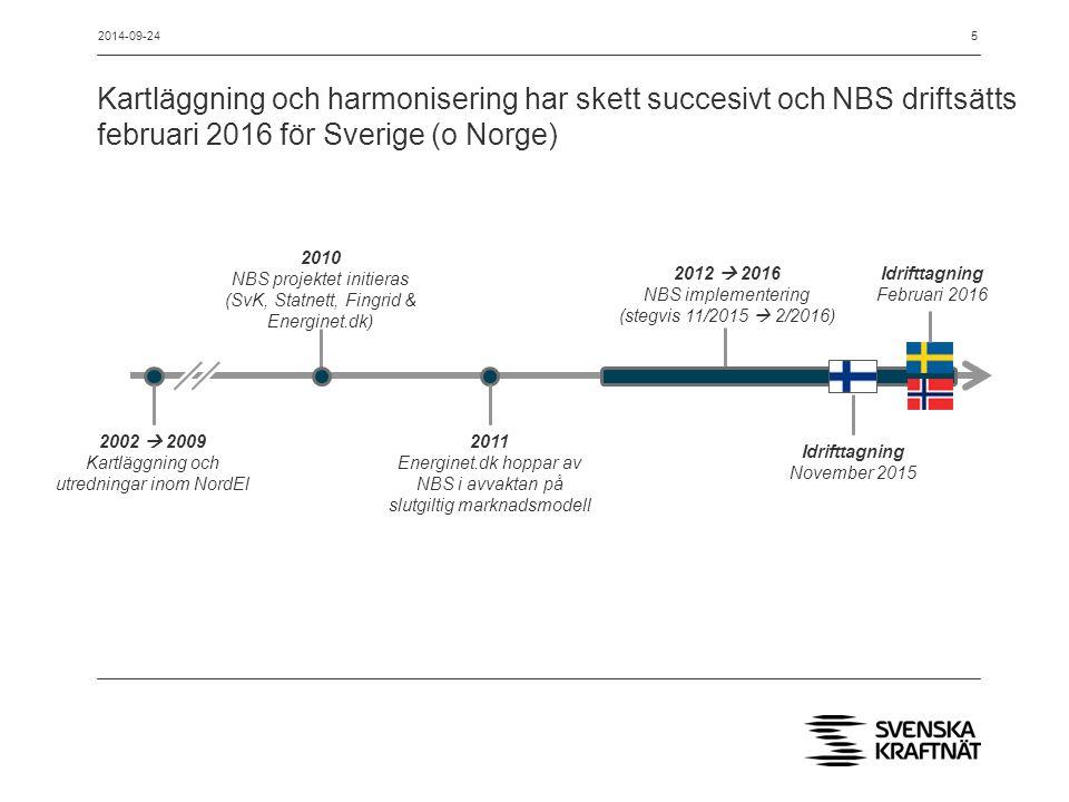 2014-09-24 Kartläggning och harmonisering har skett succesivt och NBS driftsätts februari 2016 för Sverige (o Norge)