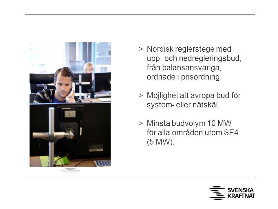 Nordisk reglerstege med upp- och nedregleringsbud, från balansansvariga, ordnade i prisordning.