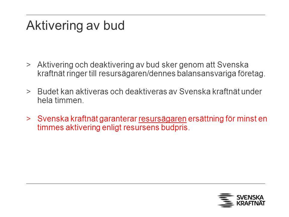 Aktivering av bud Aktivering och deaktivering av bud sker genom att Svenska kraftnät ringer till resursägaren/dennes balansansvariga företag.