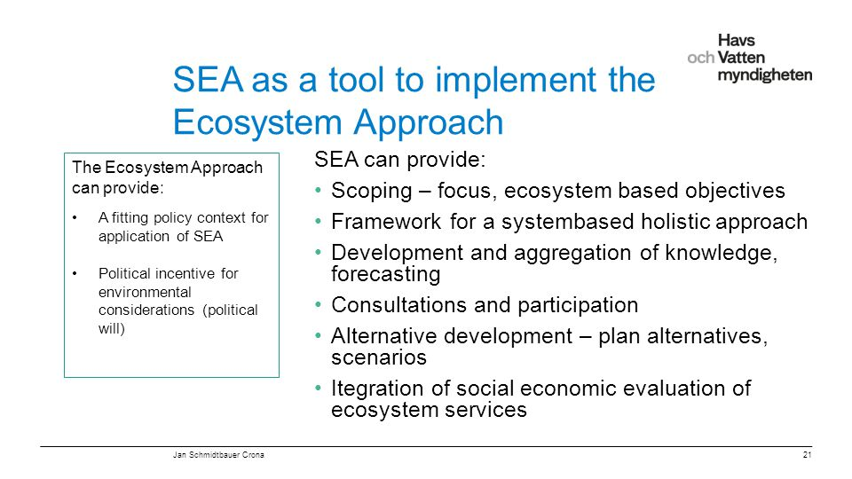 SEA as a tool to implement the Ecosystem Approach