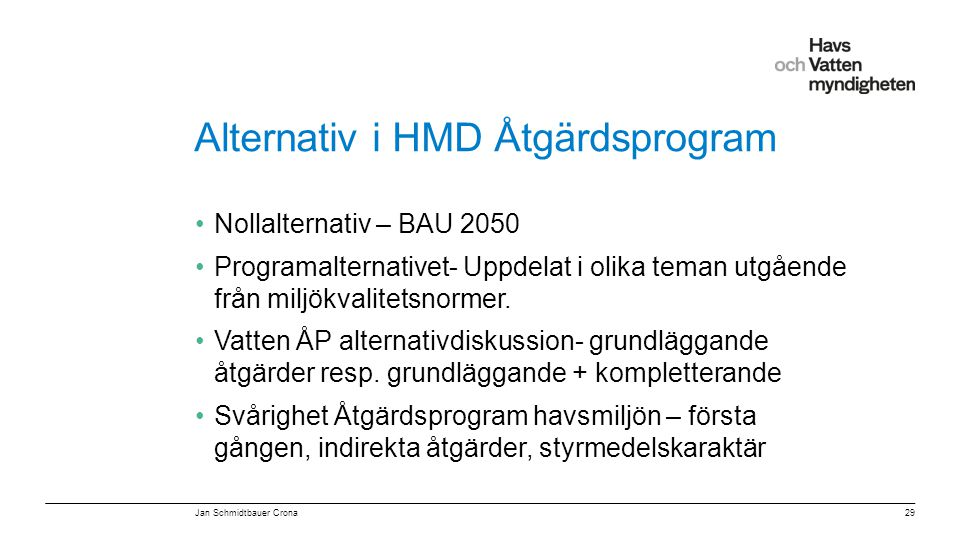 Alternativ i HMD Åtgärdsprogram
