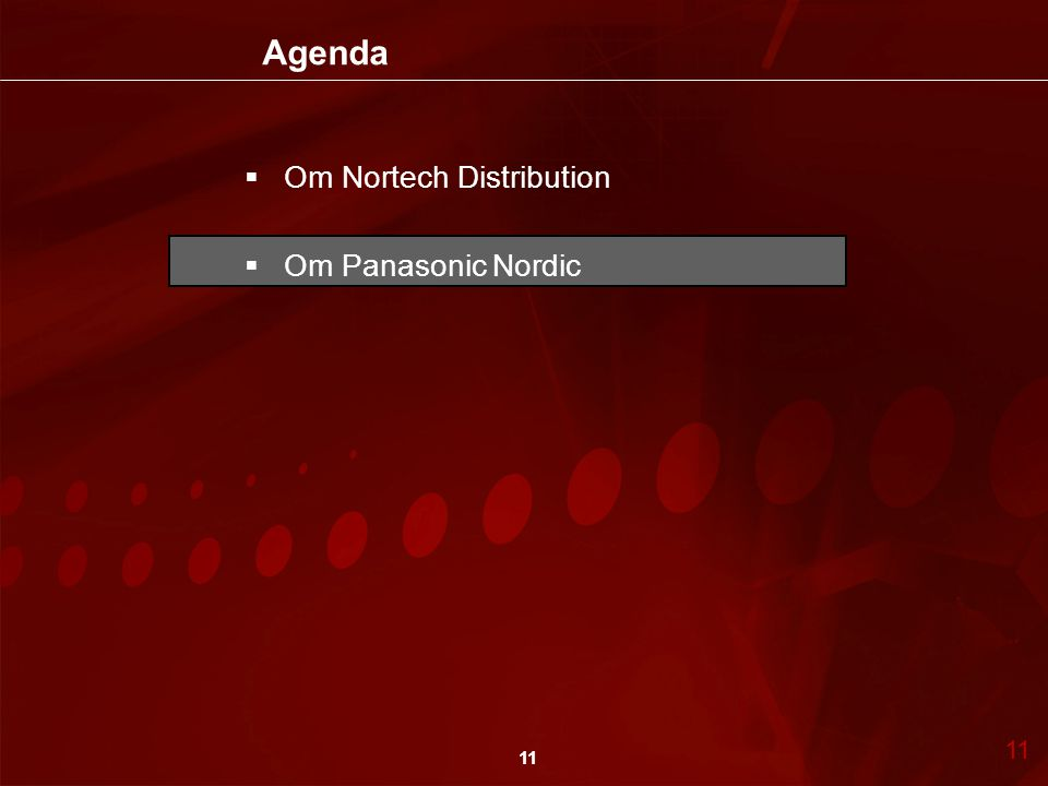 Agenda Om Nortech Distribution Om Panasonic Nordic