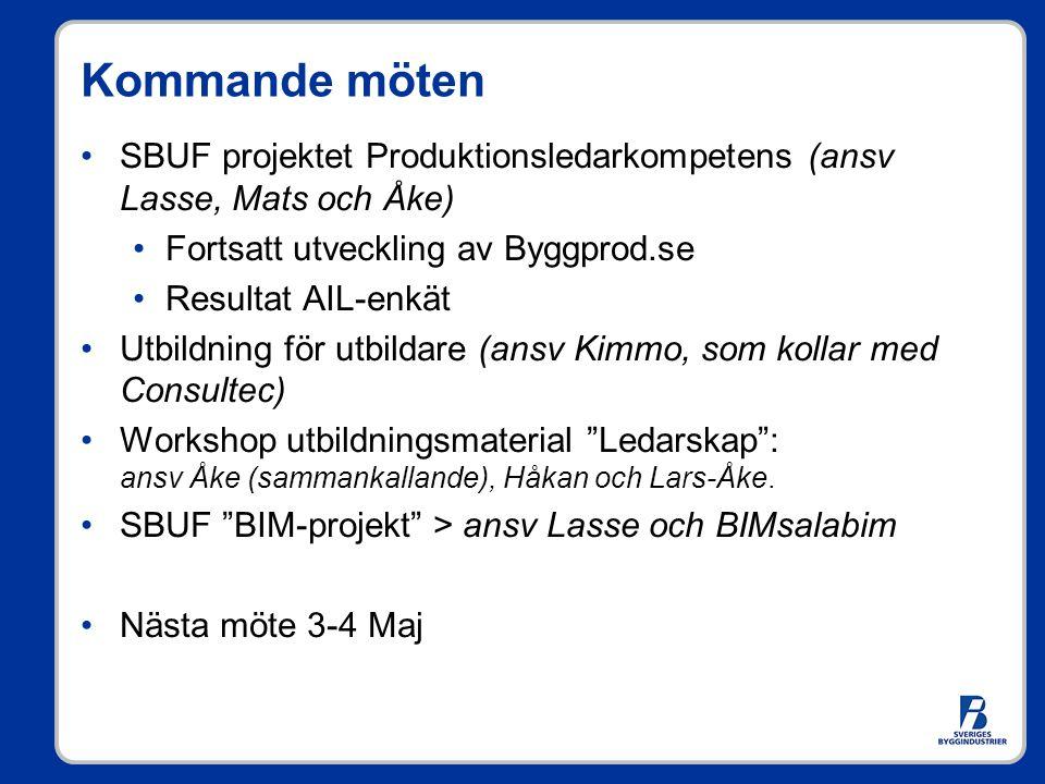 Kommande möten SBUF projektet Produktionsledarkompetens (ansv Lasse, Mats och Åke) Fortsatt utveckling av Byggprod.se.