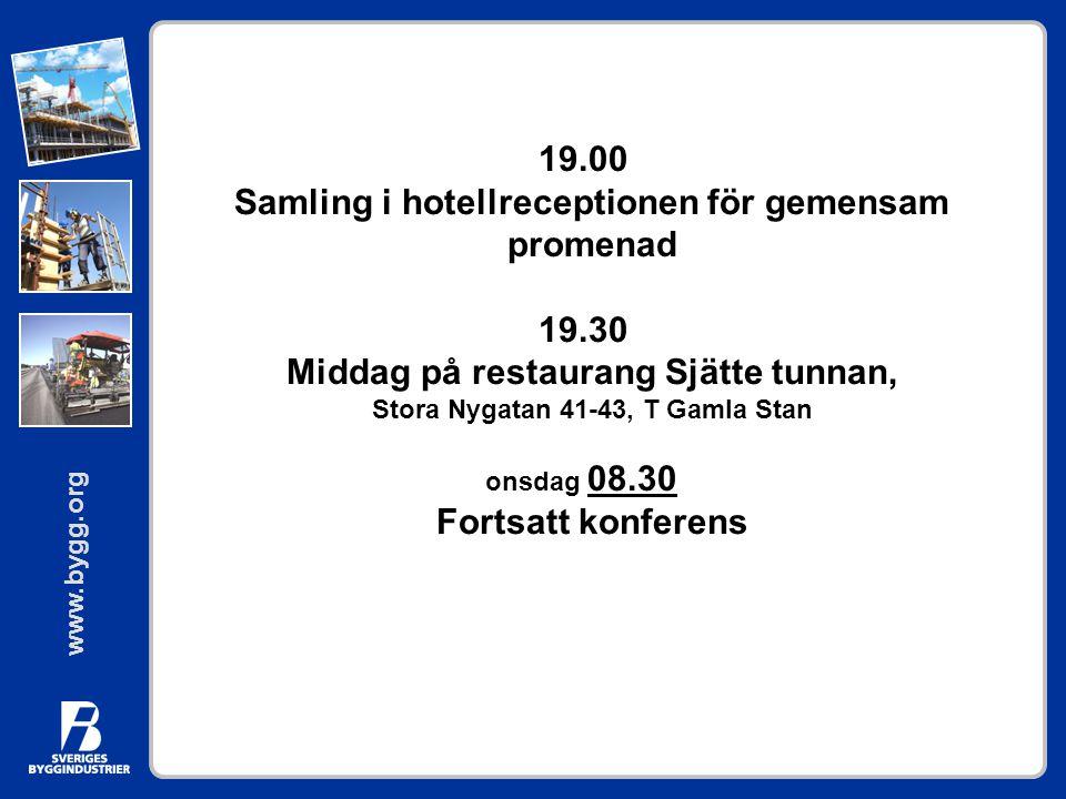 19.00 Samling i hotellreceptionen för gemensam promenad