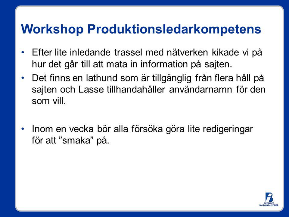 Workshop Produktionsledarkompetens