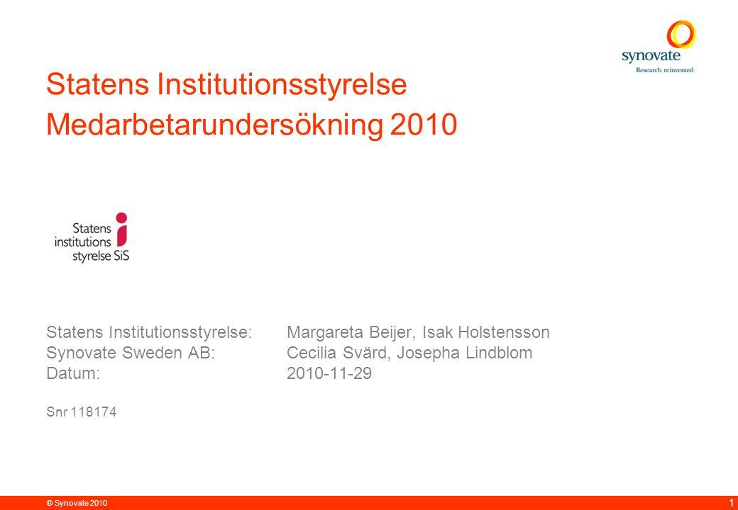 Statens Institutionsstyrelse Medarbetarundersökning 2010