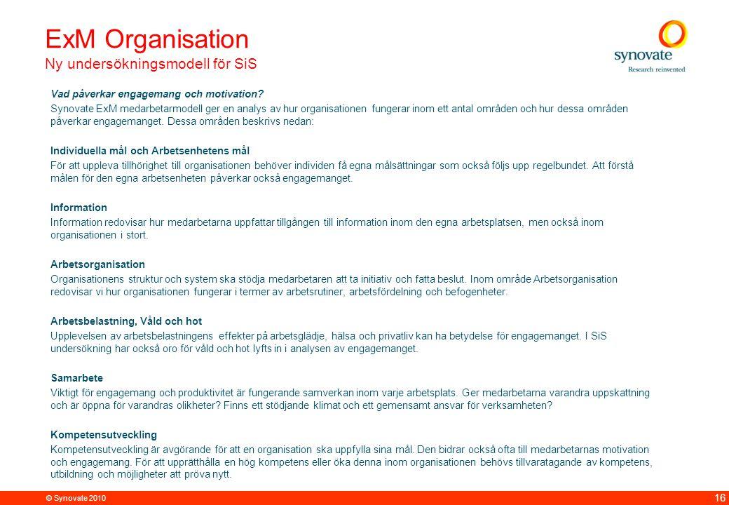 ExM Organisation Ny undersökningsmodell för SiS