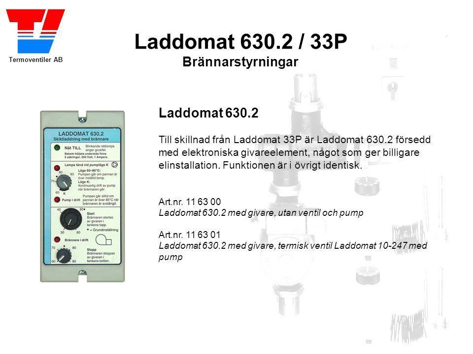 Laddomat 630.2 / 33P Brännarstyrningar