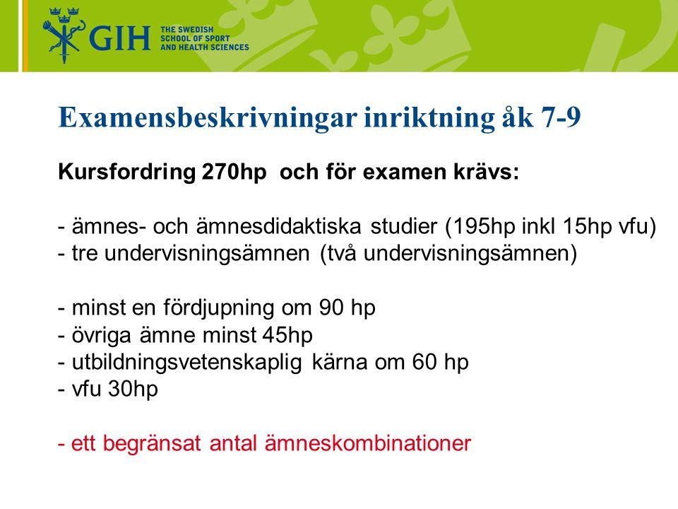 Examensbeskrivningar inriktning åk 7-9
