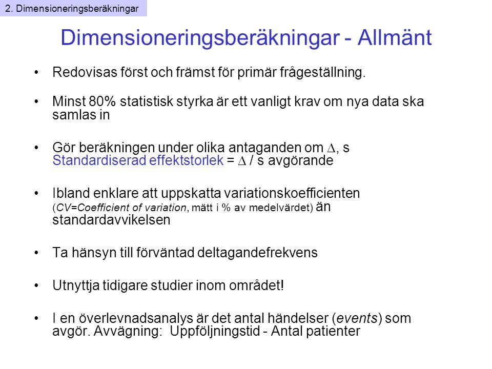 Dimensioneringsberäkningar - Allmänt