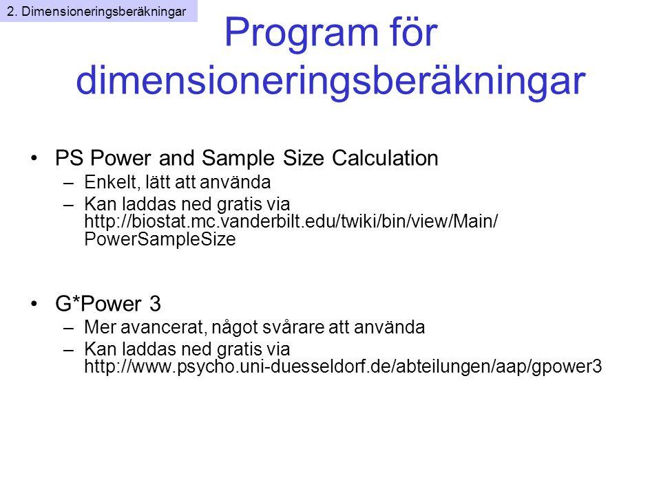Program för dimensioneringsberäkningar