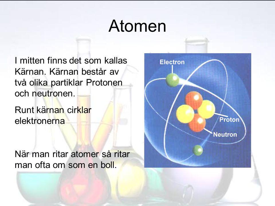 Atomen I mitten finns det som kallas Kärnan. Kärnan består av två olika partiklar Protonen och neutronen.