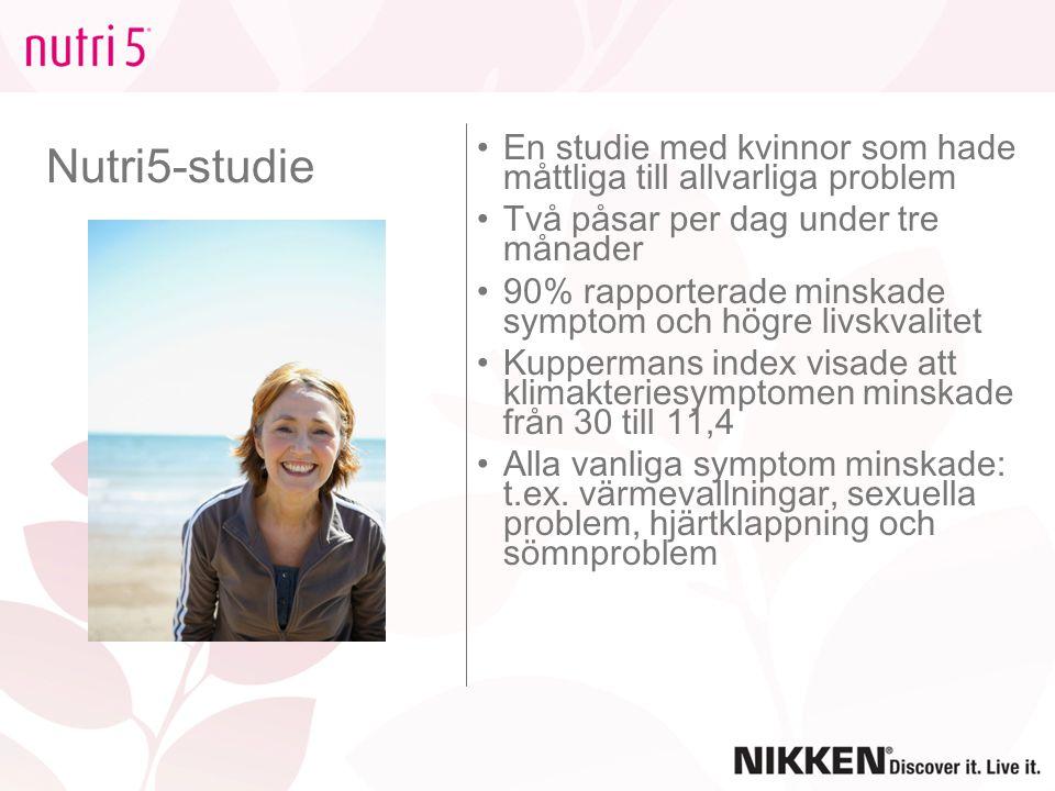 Nutri5-studie En studie med kvinnor som hade måttliga till allvarliga problem. Två påsar per dag under tre månader.
